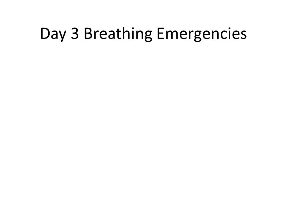 Day 3 Breathing Emergencies