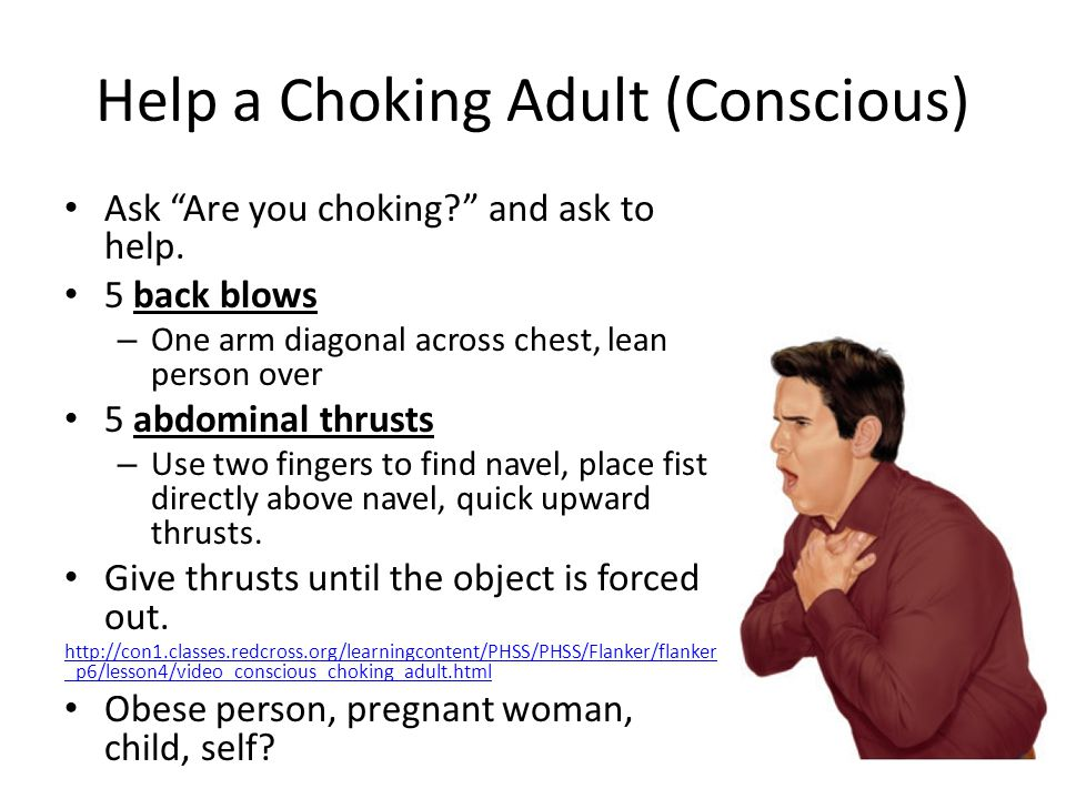 Help a Choking Adult (Conscious) Ask Are you choking and ask to help.