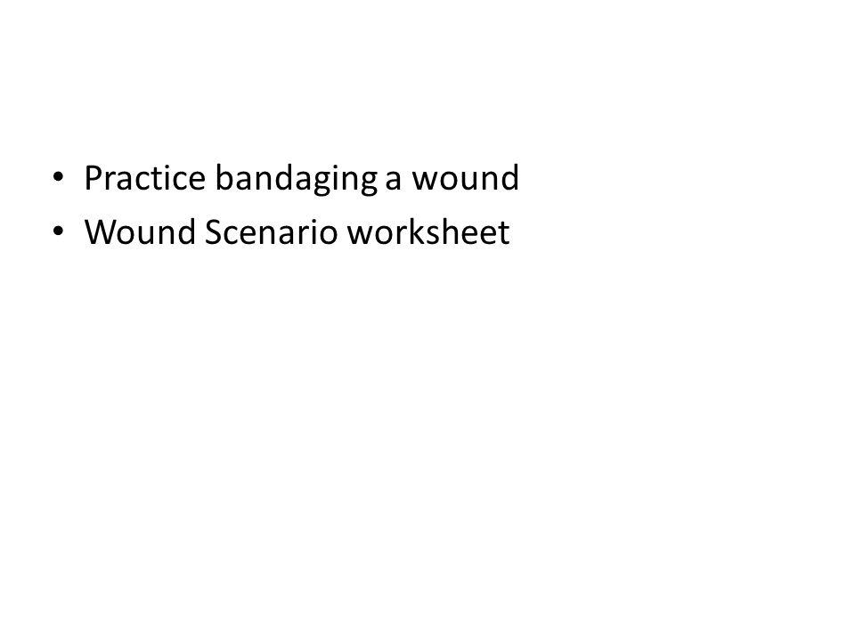 Practice bandaging a wound Wound Scenario worksheet