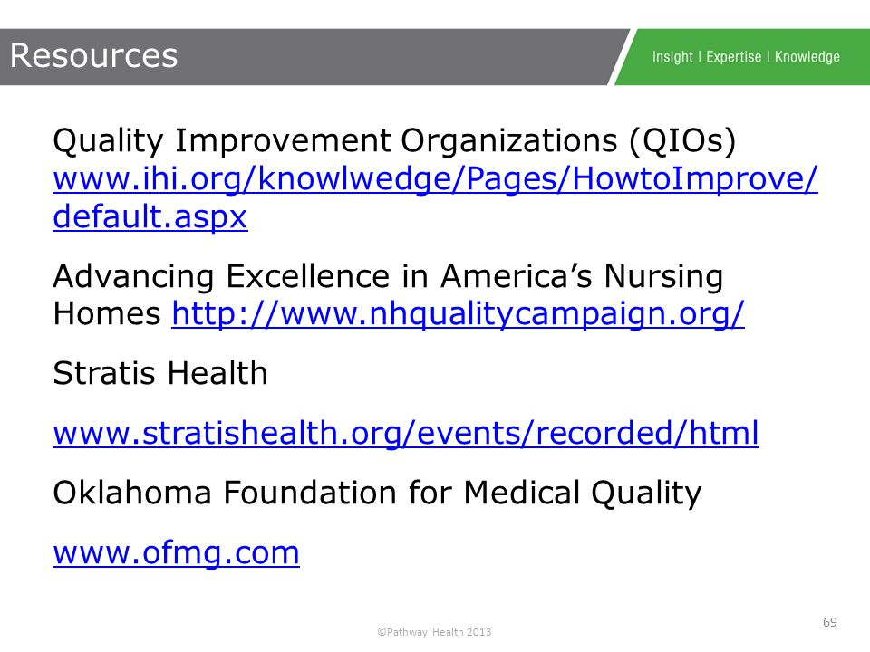 ©Pathway Health 2013 QAPI News Brief Volume1, 2013; http://www.ihi.org/knowledge/Pages/HowtoImprove/Scienc eofImprovementHowtoImprove.aspx http://www.ihi.org/knowledge/Pages/HowtoImprove/Scienc eofImprovementHowtoImprove.aspx – Langley GL, Nolan KM, Nolan TW, Norman CL, Provost LP.