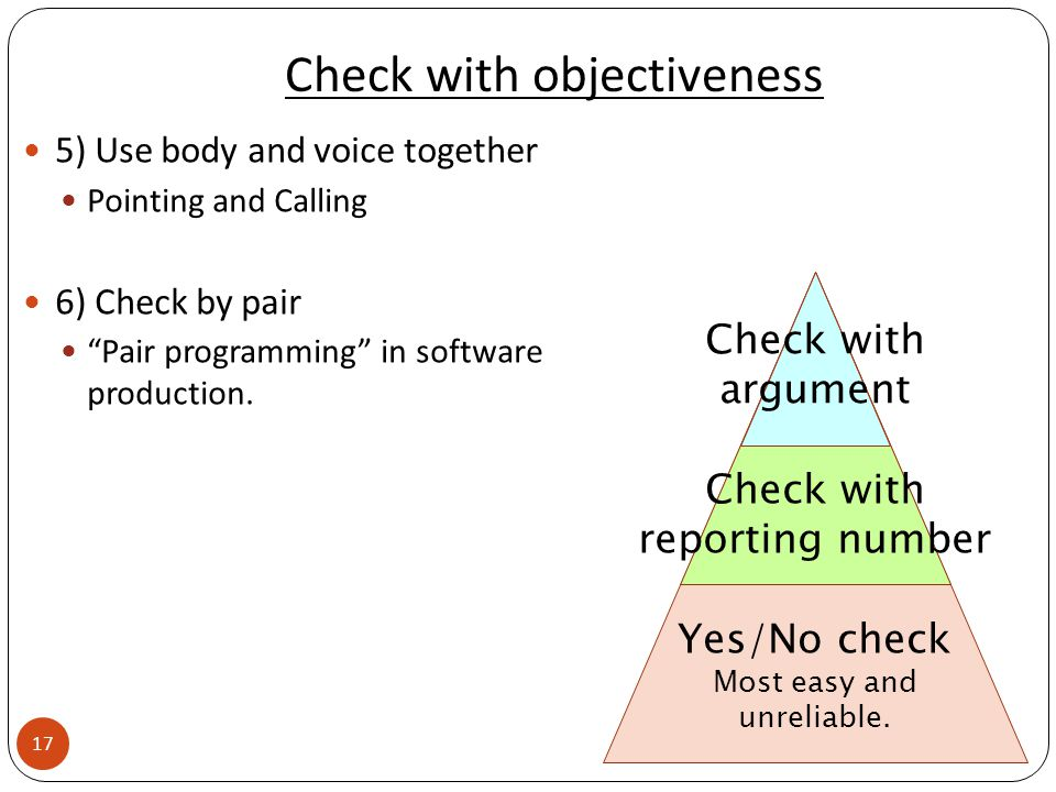 Check with objectiveness 5) Use body and voice together Pointing and Calling 6) Check by pair Pair programming in software production.