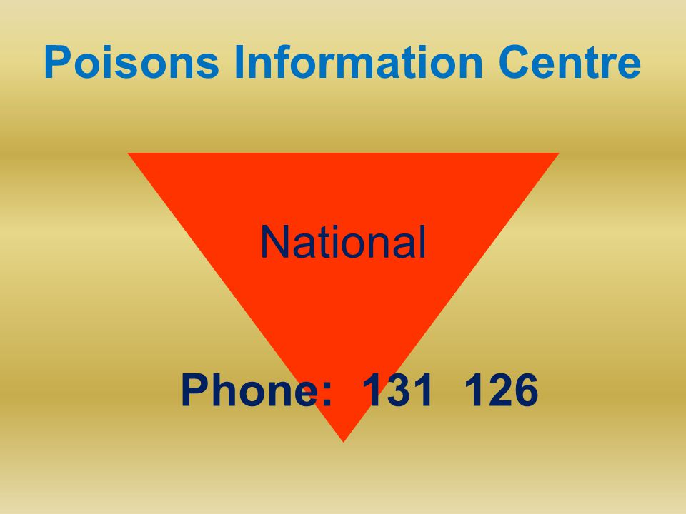 Poisons Information Centre National Phone: 131 126