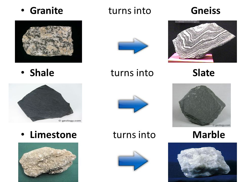 Granite turns into Gneiss Shale turns into Slate Limestone turns into Marble