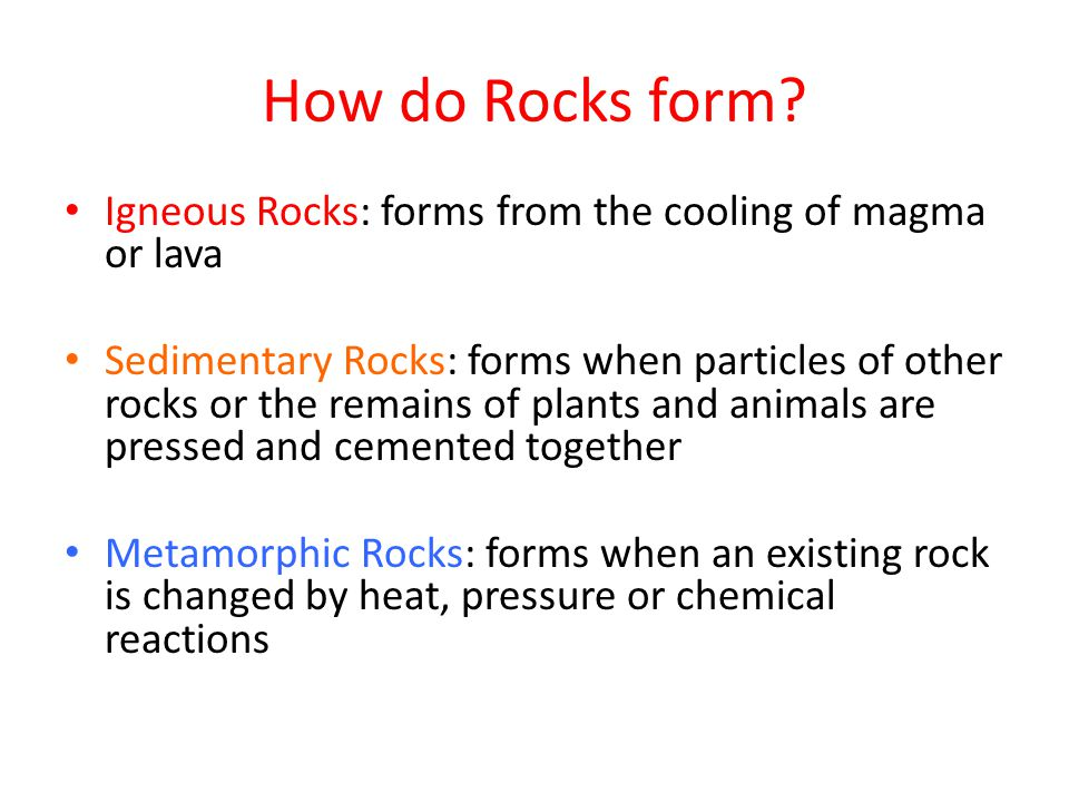 Types of Sedimentary Rocks Clastic Rock: a sedimentary rock formed when rock fragments are squeezed together Organic Rock: a sedimentary rock formed when the remains of plants and animals are deposited in thick layers