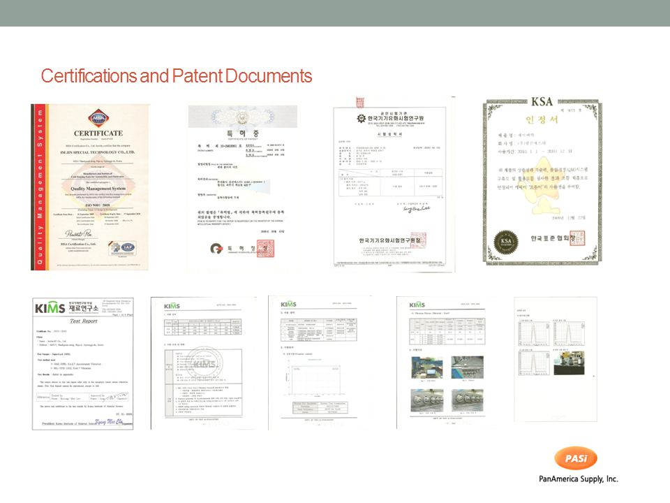Certifications and Patent Documents