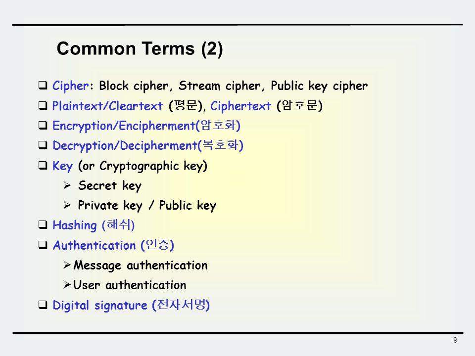 9 Common Terms (2)  Cipher: Block cipher, Stream cipher, Public key cipher  Plaintext/Cleartext ( 평문 ), Ciphertext ( 암호문 )  Encryption/Encipherment( 암호화 )  Decryption/Decipherment( 복호화 )  Key (or Cryptographic key)  Secret key  Private key / Public key  Hashing ( 해쉬 )  Authentication ( 인증 )  Message authentication  User authentication  Digital signature ( 전자서명 )