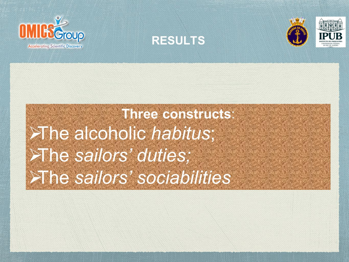 RESULTS Three constructs:  The alcoholic habitus;  The sailors' duties;  The sailors' sociabilities