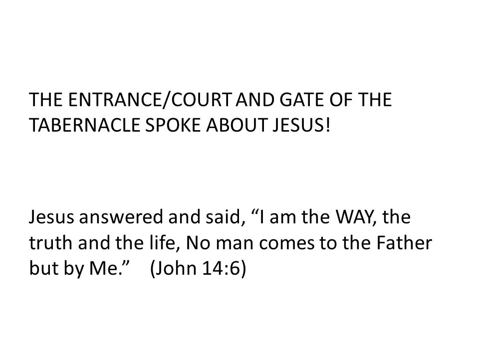 THE ENTRANCE/COURT AND GATE OF THE TABERNACLE SPOKE ABOUT JESUS.