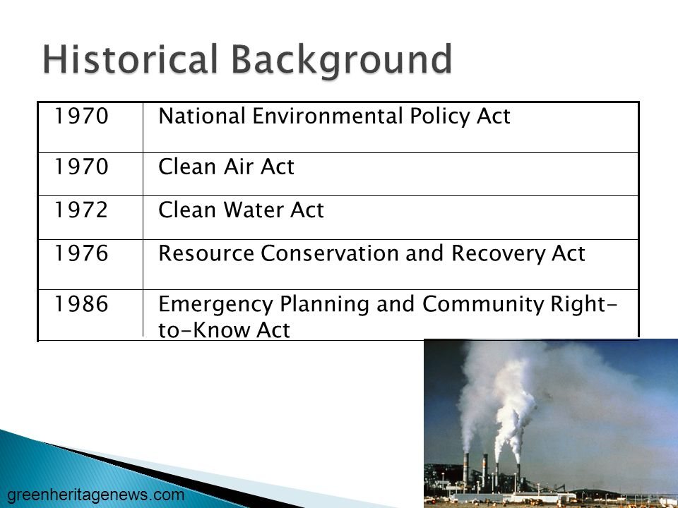 Emergency Planning and Community Right- to-Know Act 1986 Resource Conservation and Recovery Act1976 Clean Water Act1972 Clean Air Act1970 National Environmental Policy Act1970 greenheritagenews.com