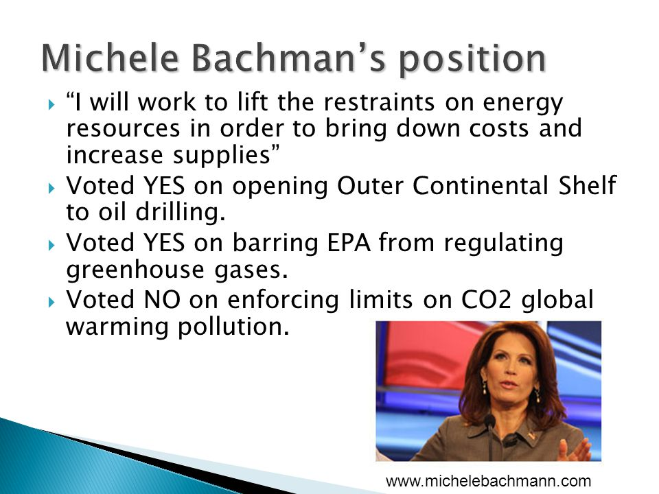  I will work to lift the restraints on energy resources in order to bring down costs and increase supplies  Voted YES on opening Outer Continental Shelf to oil drilling.