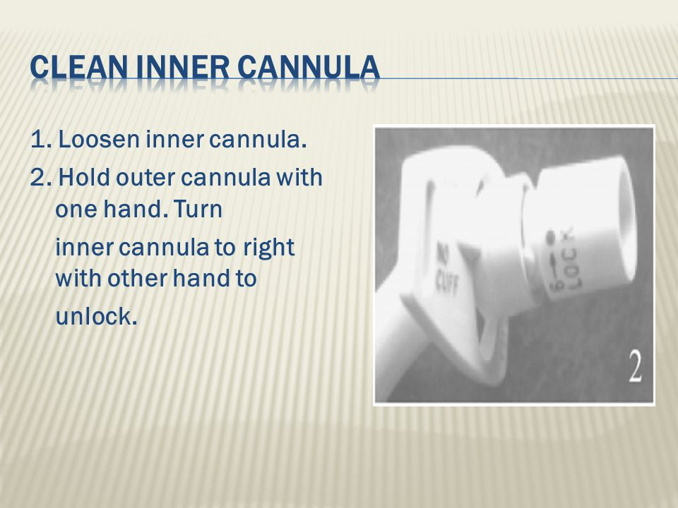 1.Loosen inner cannula. 2. Hold outer cannula with one hand.