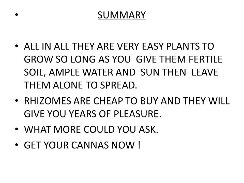 SUMMARY ALL IN ALL THEY ARE VERY EASY PLANTS TO GROW SO LONG AS YOU GIVE THEM FERTILE SOIL, AMPLE WATER AND SUN THEN LEAVE THEM ALONE TO SPREAD.