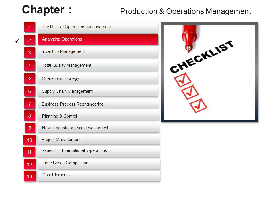 Start Questioning operations productivity Eliminating unuseful operations CombinIing operations Improving Operations Productivity (Re) Design of new processes Discussing the 9 primary approches to Operations Analysis Lecture Outlines 1.Operation Purpose 2.Part Design 3.Tolerances and Specs 4.Material 5.Manufacturing Sequence and Process 6.Setup and Tools 7.Material Handling 8.Plant Layout 9.Work Design