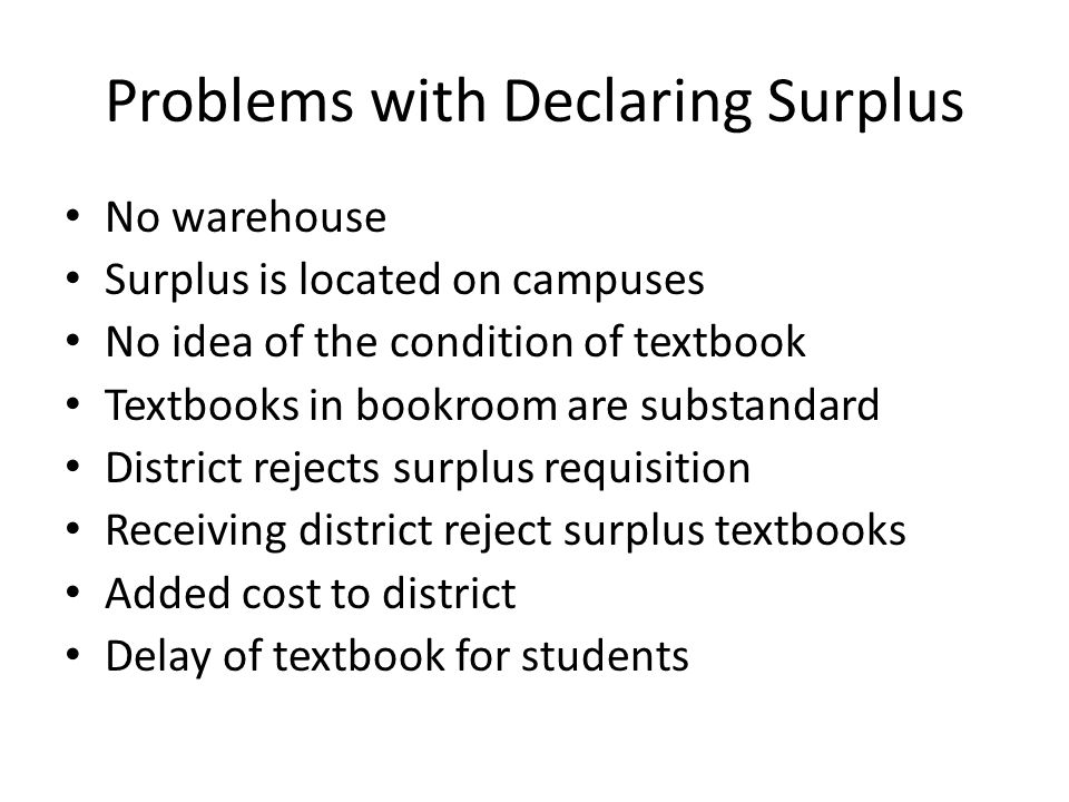 Problems with Declaring Surplus No warehouse Surplus is located on campuses No idea of the condition of textbook Textbooks in bookroom are substandard District rejects surplus requisition Receiving district reject surplus textbooks Added cost to district Delay of textbook for students