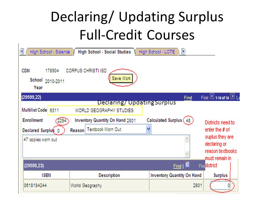 Declaring/ Updating Surplus Full-Credit Courses Declaring/ Updating Surplus