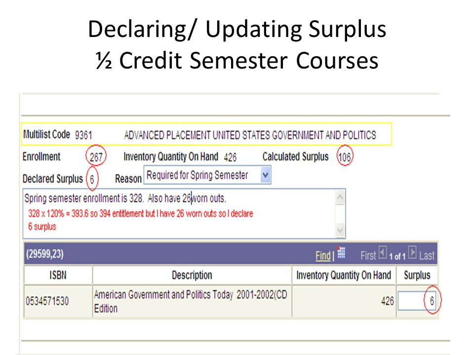 Declaring/ Updating Surplus ½ Credit Semester Courses
