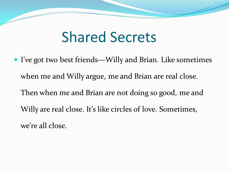 Shared Secrets My ideal best friend is a close, close friend who I could say anything to...'cause sometimes you need to spill your heart out to somebody and if there's nobody there, then you gonna keep it inside, then you will have anger.