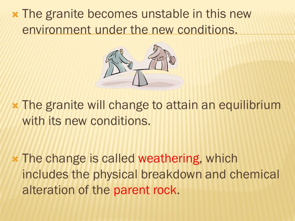  The granite becomes unstable in this new environment under the new conditions.  The granite will change to attain an equilibrium with its new condi