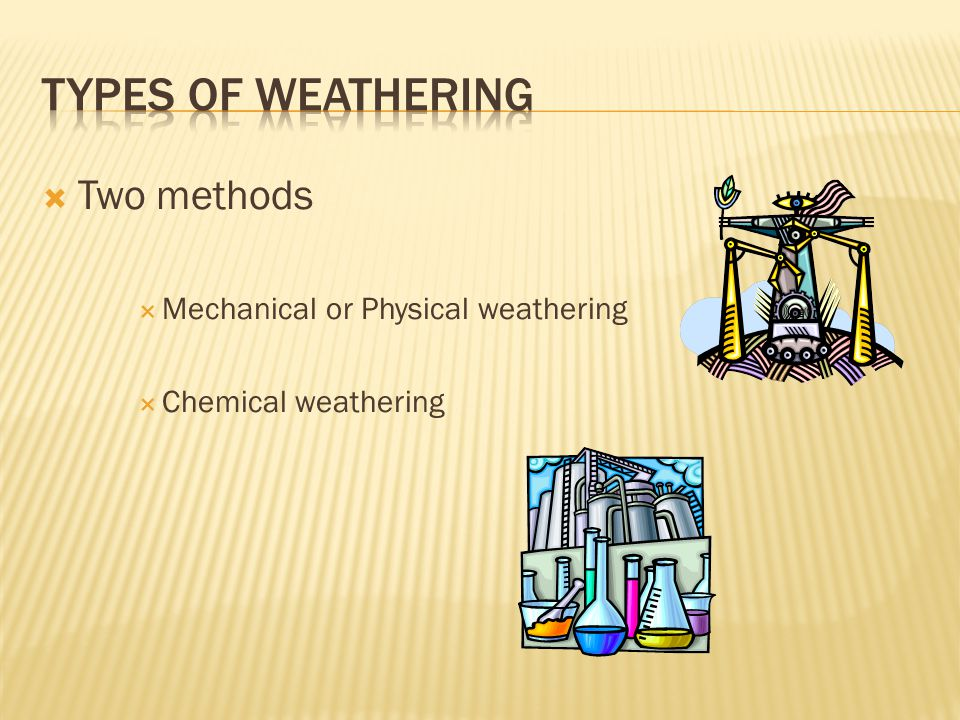  Two methods  Mechanical or Physical weathering  Chemical weathering