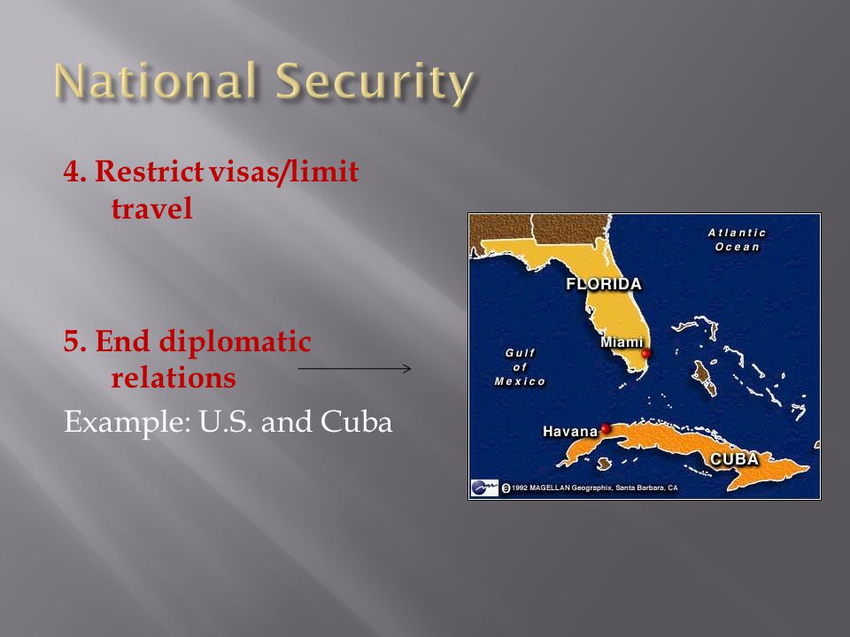 4. Restrict visas/limit travel 5. End diplomatic relations Example: U.S. and Cuba