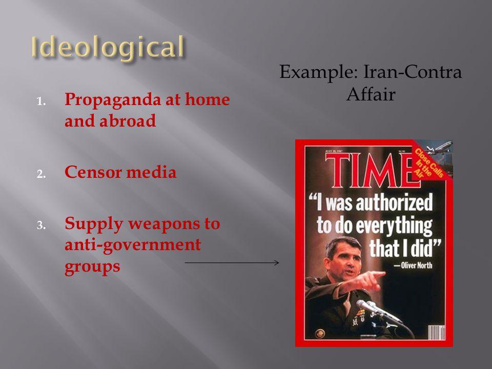 1. Propaganda at home and abroad 2. Censor media 3.