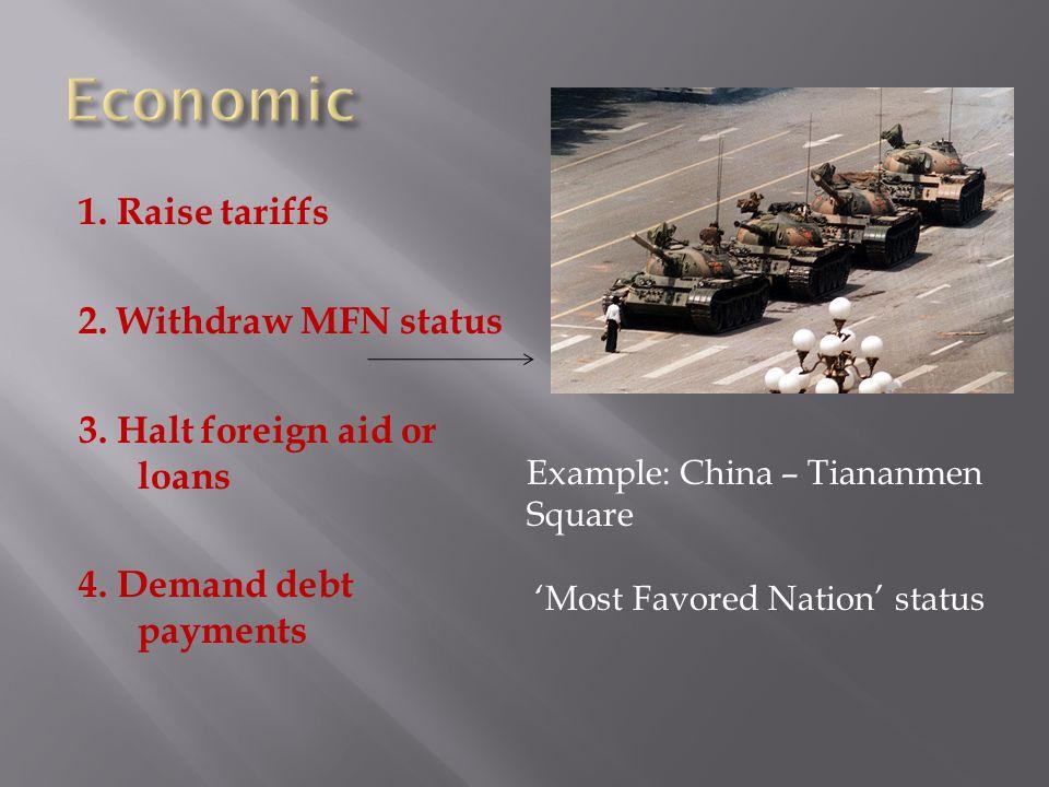 1. Raise tariffs 2. Withdraw MFN status 3. Halt foreign aid or loans 4.