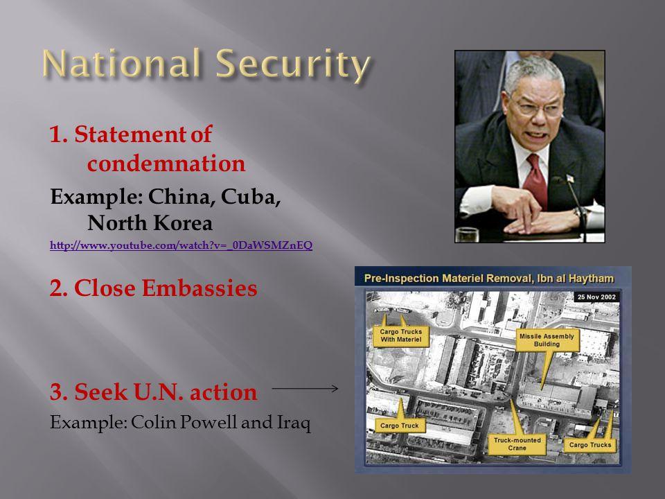 1. Statement of condemnation Example: China, Cuba, North Korea http://www.youtube.com/watch?v=_0DaWSMZnEQ 2. Close Embassies 3. Seek U.N. action Examp