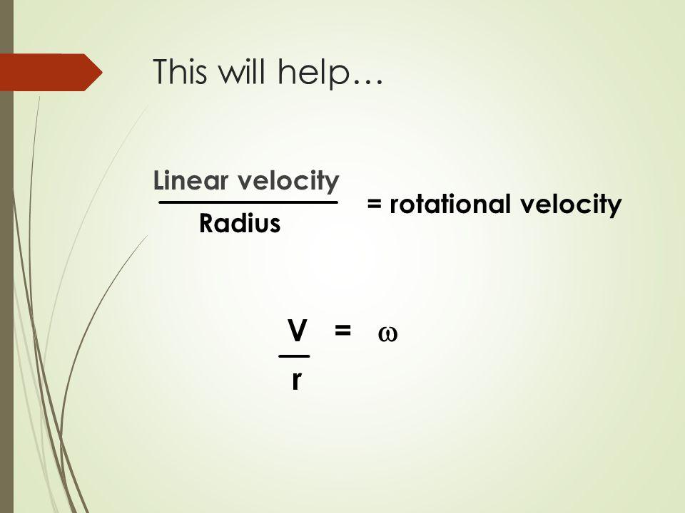 This will help… Linear velocity Radius = rotational velocity V =  r