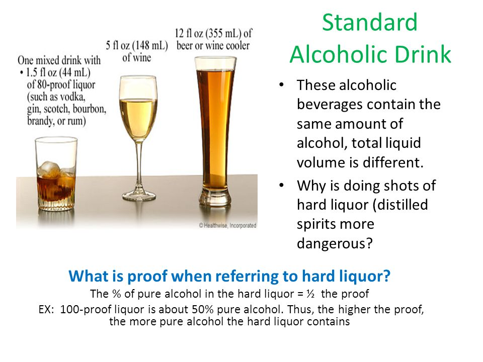 Standard Alcoholic Drink What is proof when referring to hard liquor.