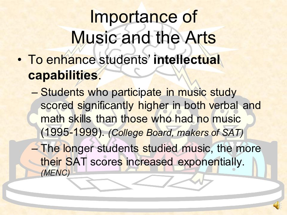 Importance of Music and the Arts Journal of the Society of Arts (GB) –Reminds that: Educators dating back to Plato insisted on teaching of music.