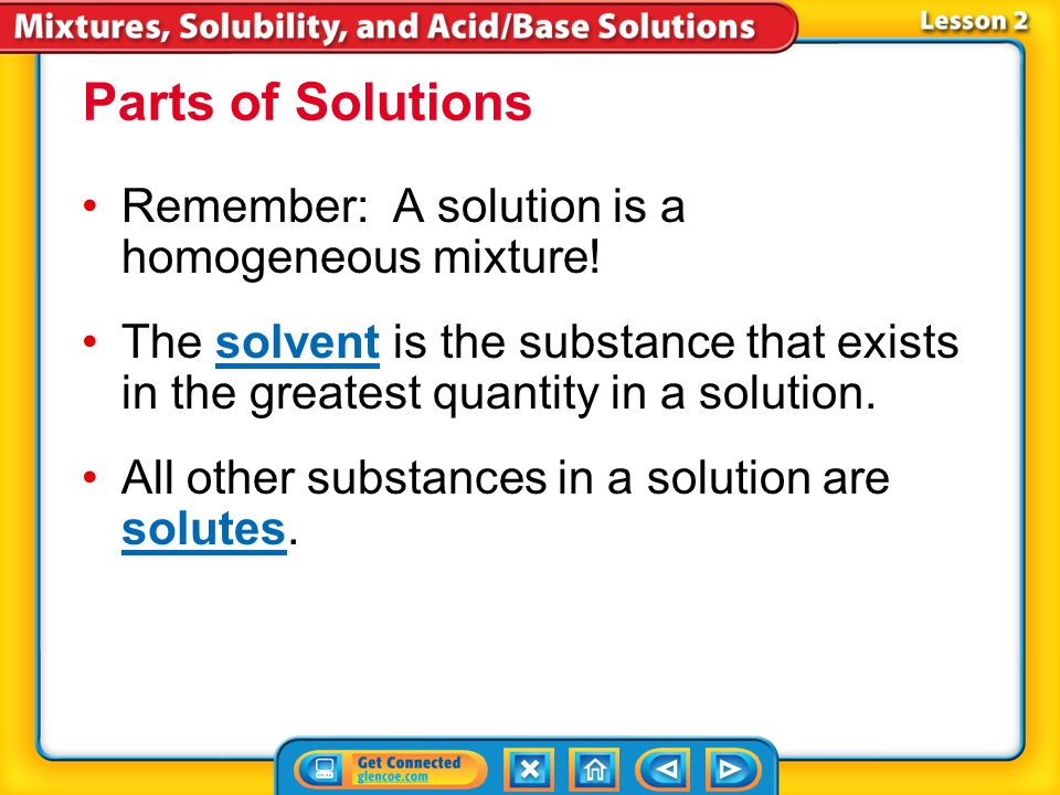 Lesson 2 Reading Guide - KC Why do some substances dissolve in water and others do not? How do concentration and solubility differ? How can the solubi
