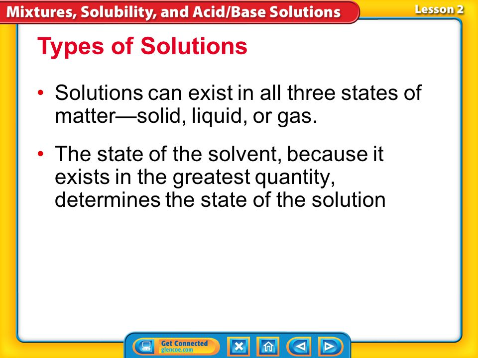 Lesson 2-1 Remember: A solution is a homogeneous mixture! The solvent is the substance that exists in the greatest quantity in a solution.solvent All