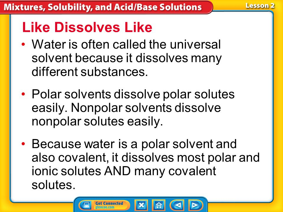 Lesson 2-3 Water is a polar molecule—a molecule with a slightly negative end and a slightly positive end.polar molecule Polar molecules attract other