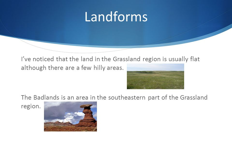 Landforms I've noticed that the land in the Grassland region is usually flat although there are a few hilly areas.