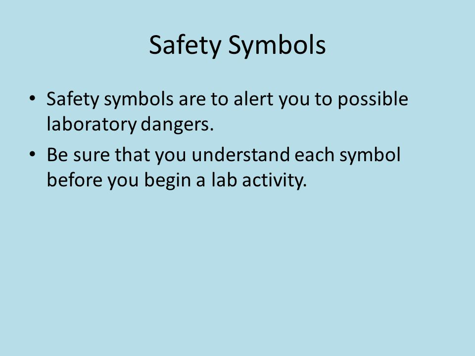 Eye safety This symbol appears when a danger to eyes exist Clothing protection This symbol appears when substances could stain or burn clothing