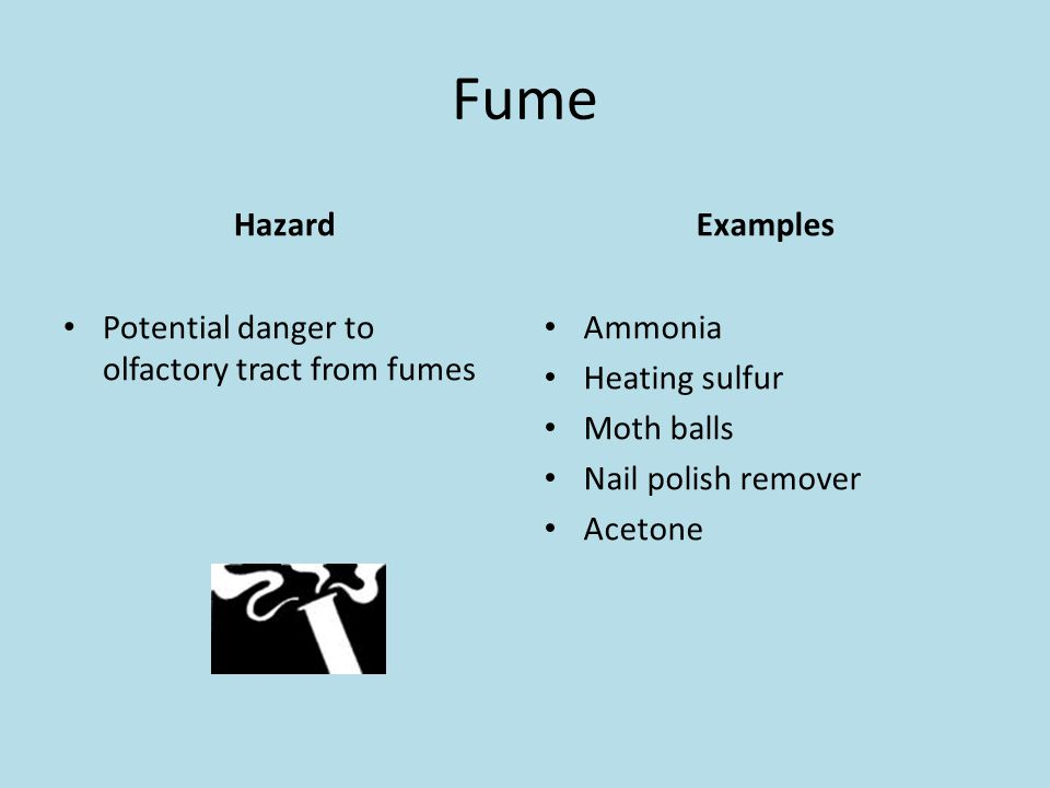 Fume Hazard Potential danger to olfactory tract from fumes Examples Ammonia Heating sulfur Moth balls Nail polish remover Acetone
