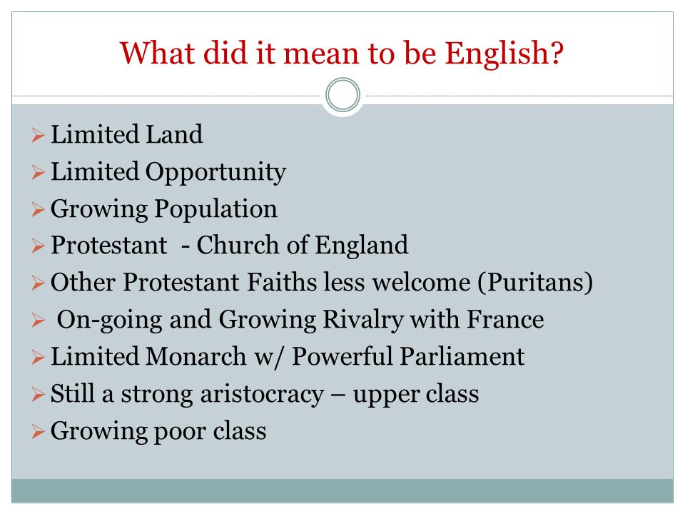What did it mean to be English.