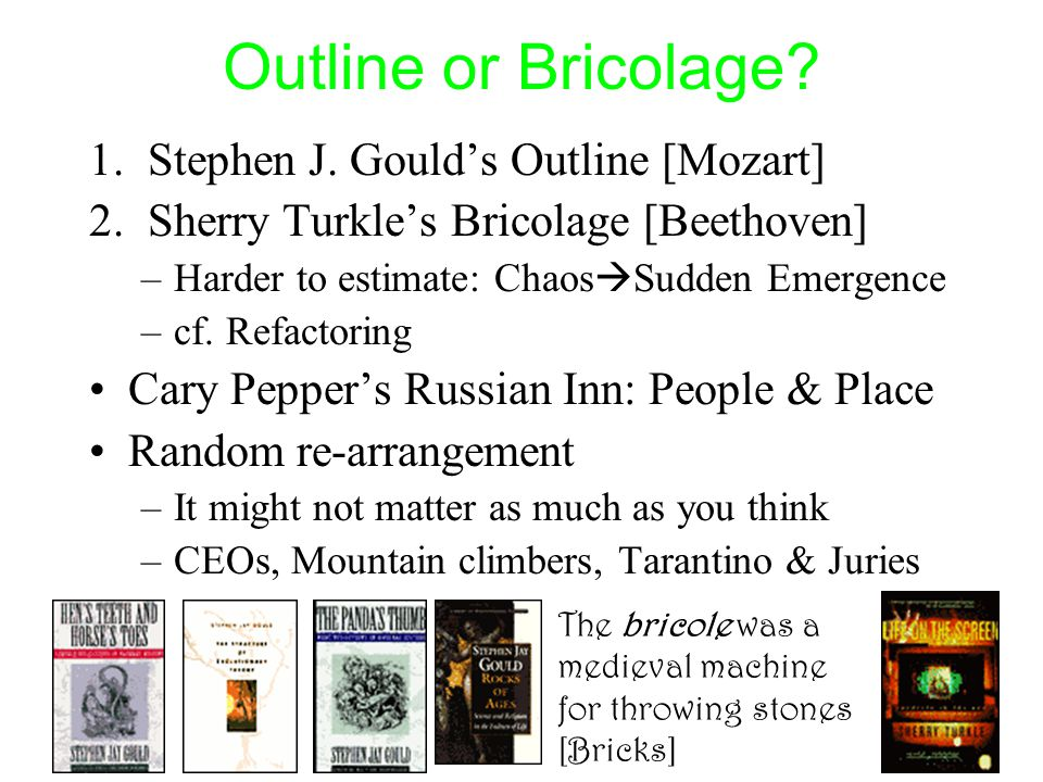Outline or Bricolage? 1.Stephen J. Gould's Outline [Mozart] 2.Sherry Turkle's Bricolage [Beethoven] –Harder to estimate: Chaos  Sudden Emergence –cf.