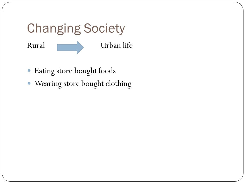 Changing Society RuralUrban life Eating store bought foods Wearing store bought clothing