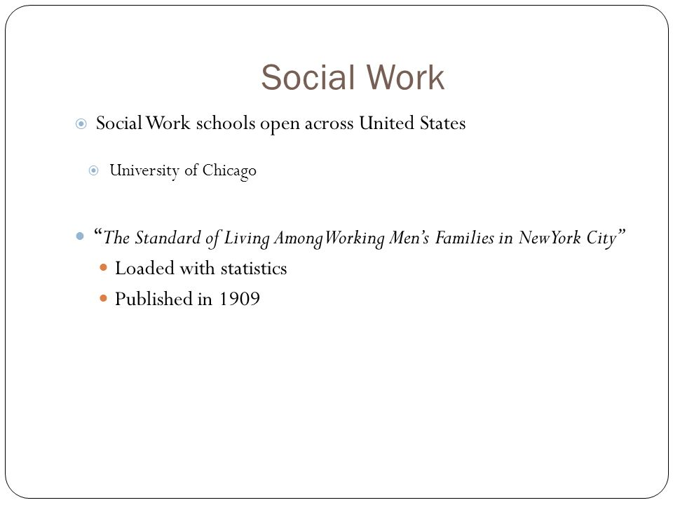 Social Work  Social Work schools open across United States  University of Chicago The Standard of Living Among Working Men's Families in New York City Loaded with statistics Published in 1909