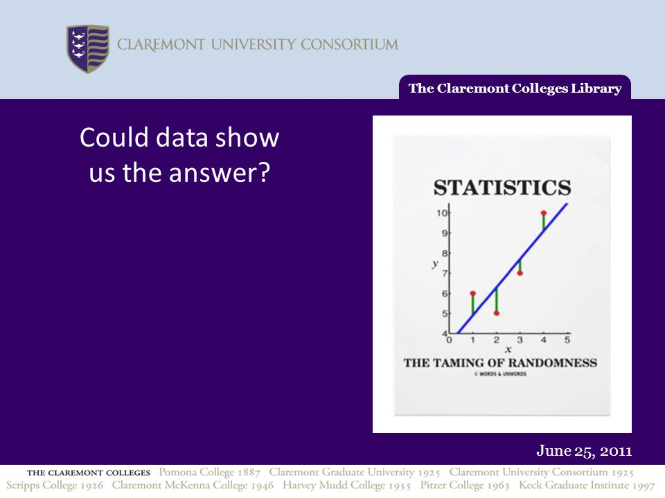 June 25, 2011 The Claremont Colleges Library Could data show us the answer?