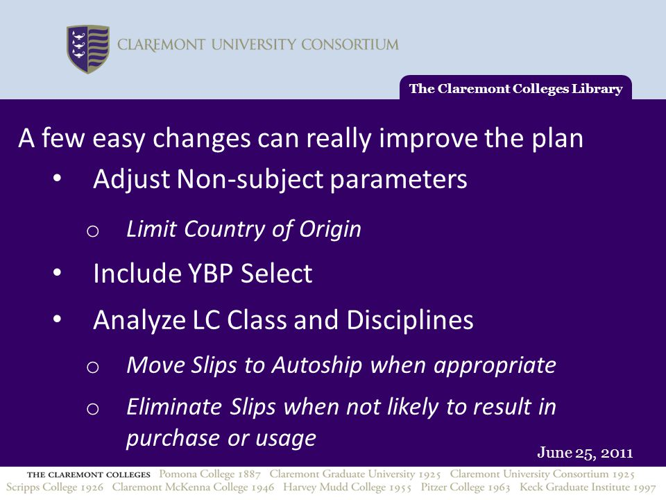 June 25, 2011 A few easy changes can really improve the plan Adjust Non-subject parameters o Limit Country of Origin Include YBP Select Analyze LC Cla
