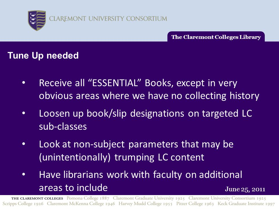 """June 25, 2011 Tune Up needed Receive all """"ESSENTIAL"""" Books, except in very obvious areas where we have no collecting history Loosen up book/slip desig"""