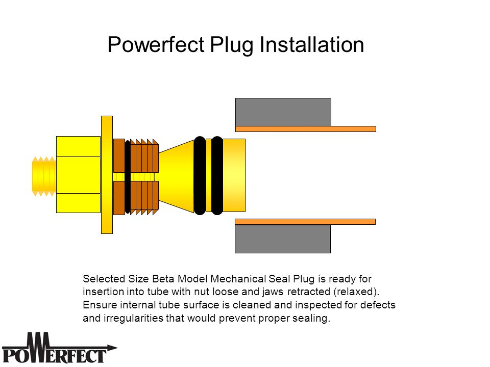 Selected Size Beta Model Mechanical Seal Plug is ready for insertion into tube with nut loose and jaws retracted (relaxed).