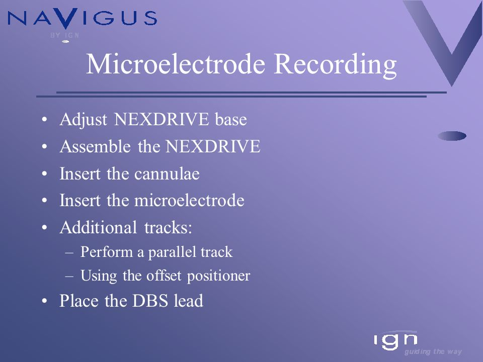 Microelectrode Recording Adjust NEXDRIVE base Assemble the NEXDRIVE Insert the cannulae Insert the microelectrode Additional tracks: –Perform a parallel track –Using the offset positioner Place the DBS lead