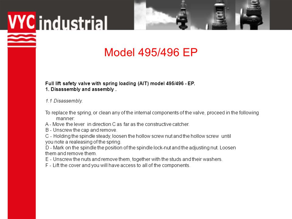 Model 495/496 EP Full lift safety valve with spring loading (AIT) model 495/496 - EP.