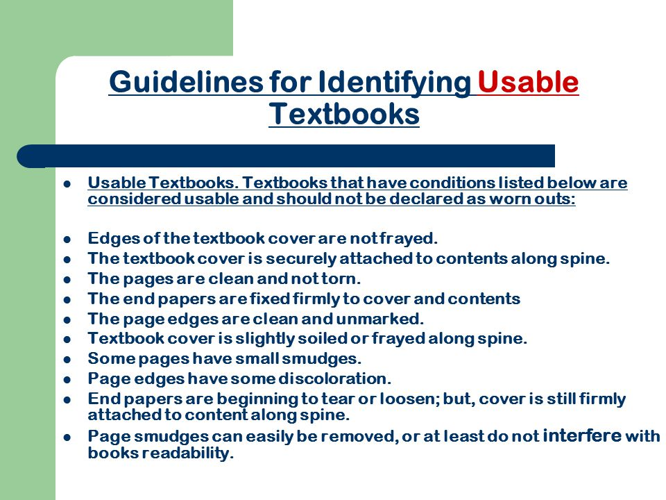 Guidelines for Identifying Usable Textbooks Usable Textbooks.