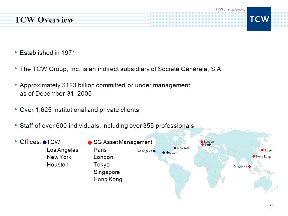 TCW Energy Group 13 TCW Overview Established in 1971 The TCW Group, Inc.
