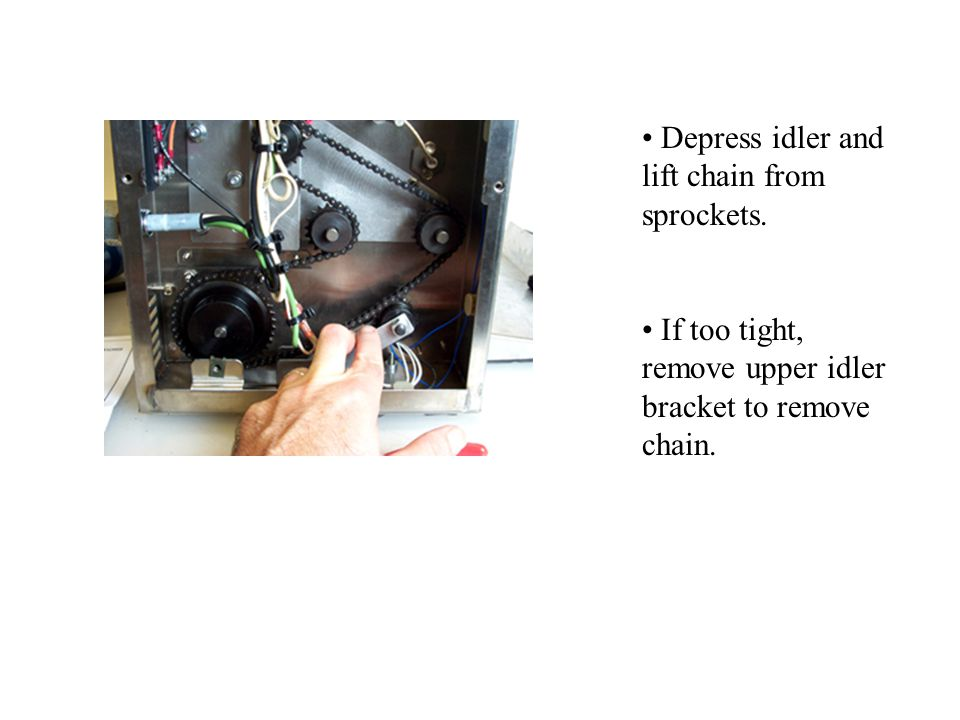 Depress idler and lift chain from sprockets.