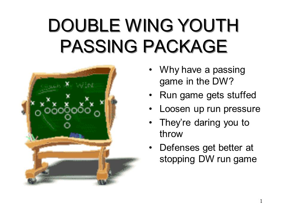 1 DOUBLE WING YOUTH PASSING PACKAGE Why have a passing game in the DW.